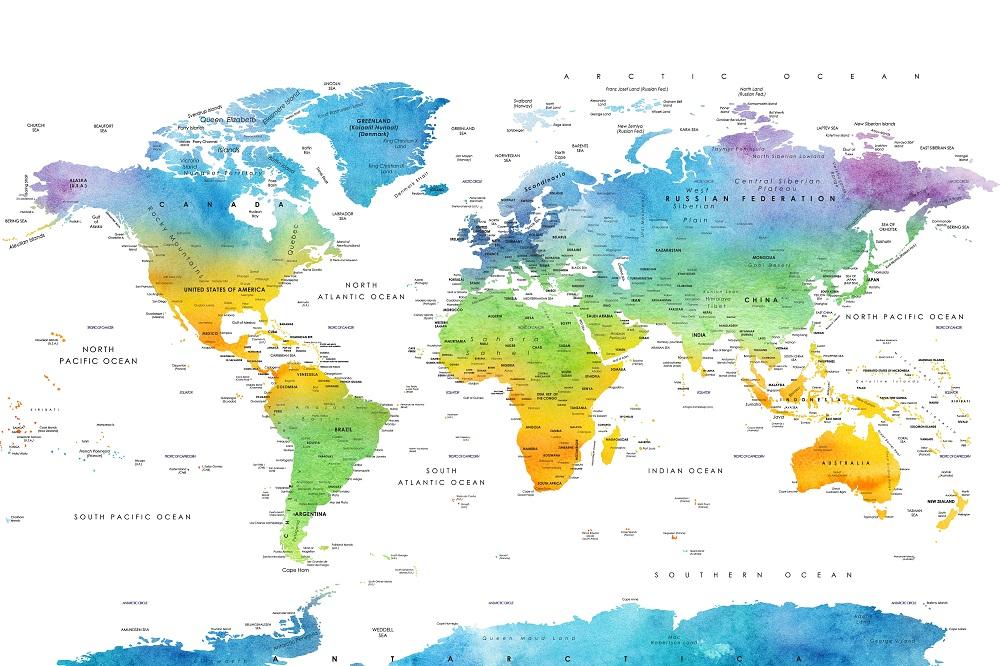 Carte du monde à imprimer sans frontière