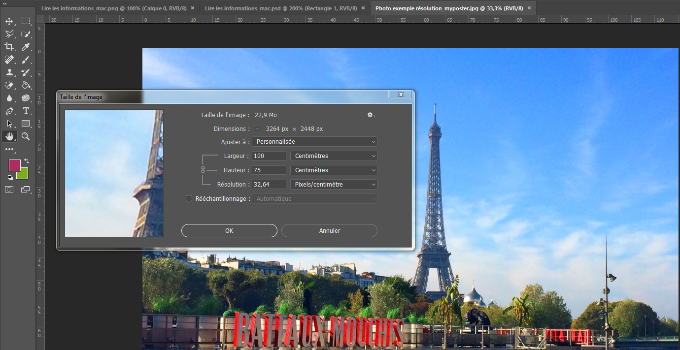Modification taille image photoshop