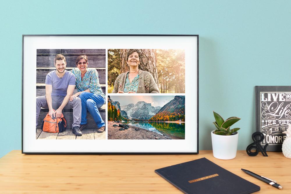 Idée cadeau fête des mères montage photo / collage photo encadré myposter