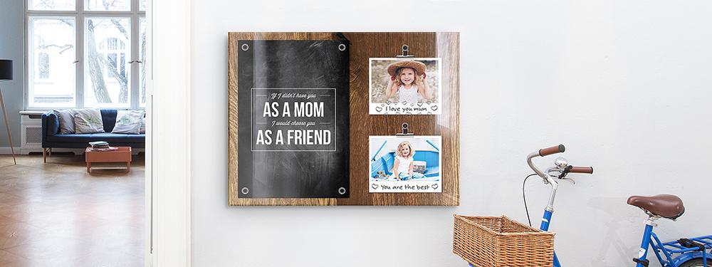 Muttertags-Collage als Memoboard-Vorlage auf Acrylglas