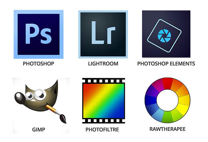 Les logos des 6 principaux logiciels de retouche photo