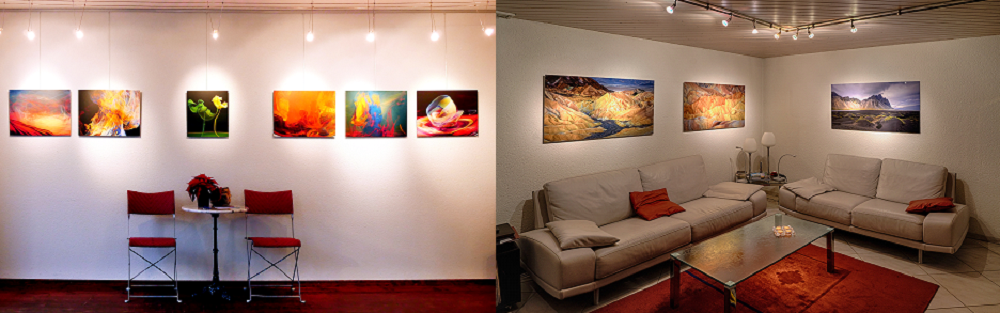 Exemple d'impression sur Alu-Dibond (de Peter Strebel) et sur Gallery-Bond (de Hans U.Oberli)