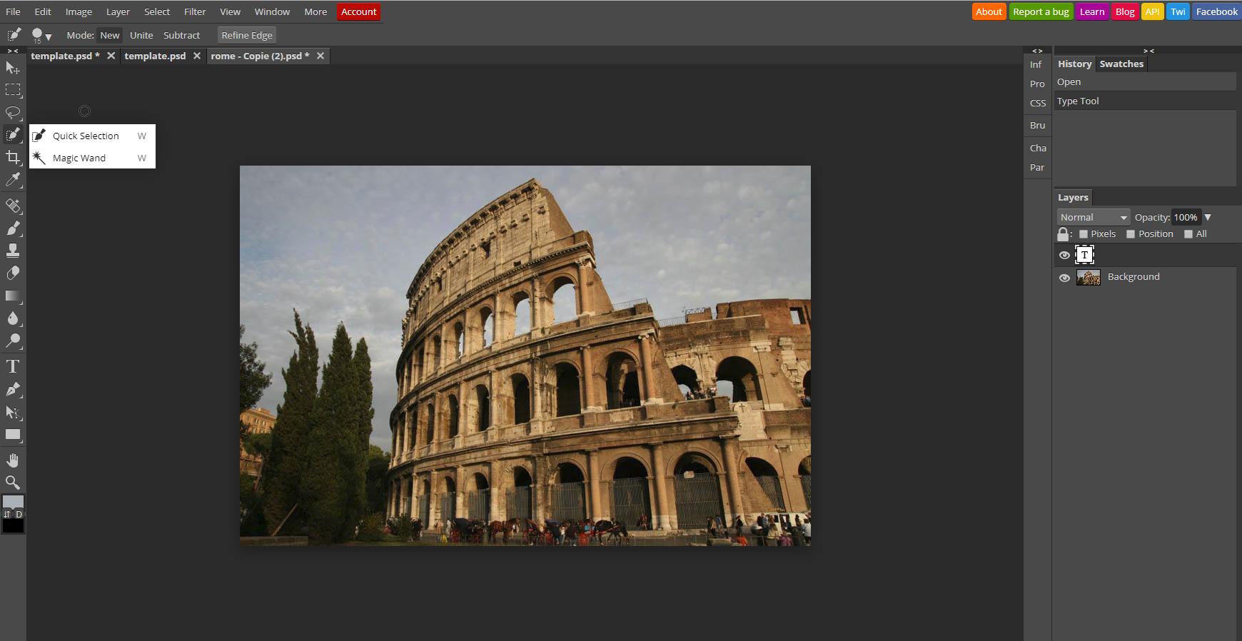 Logiciel de retouche photo Photopea / comparatif myposter