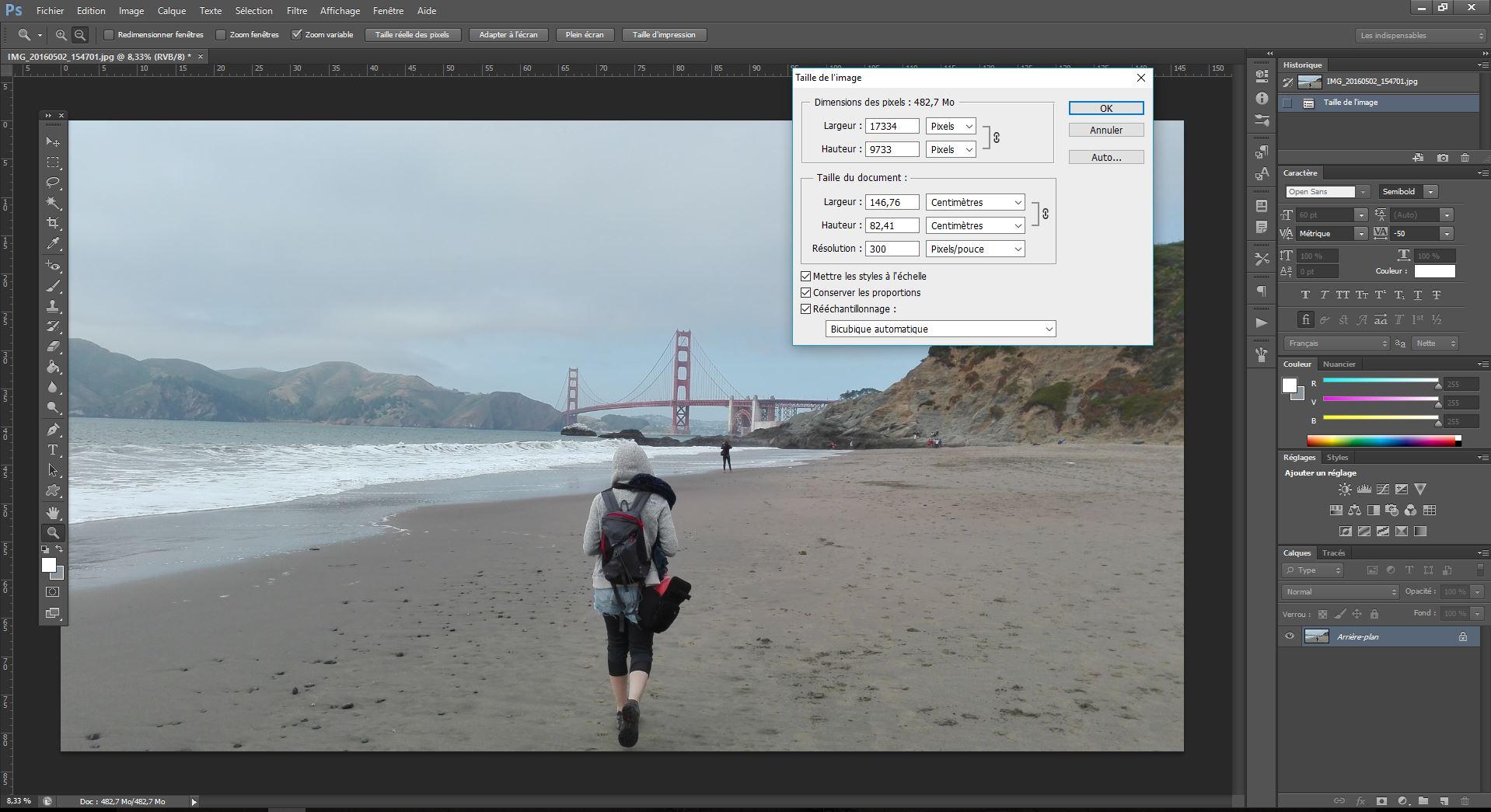 Vérifier qualité image Photoshop