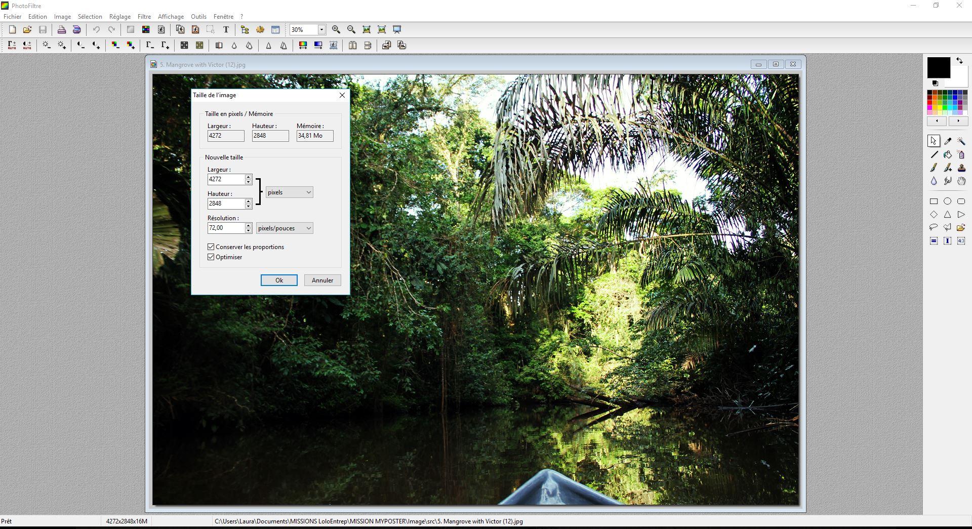 redimensionner une image configurateur Photofiltre