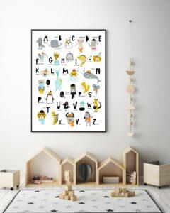 poster alphabet dans un cadre