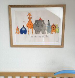 Photo encadrée avec des animaux / motifs enfantins / myposter