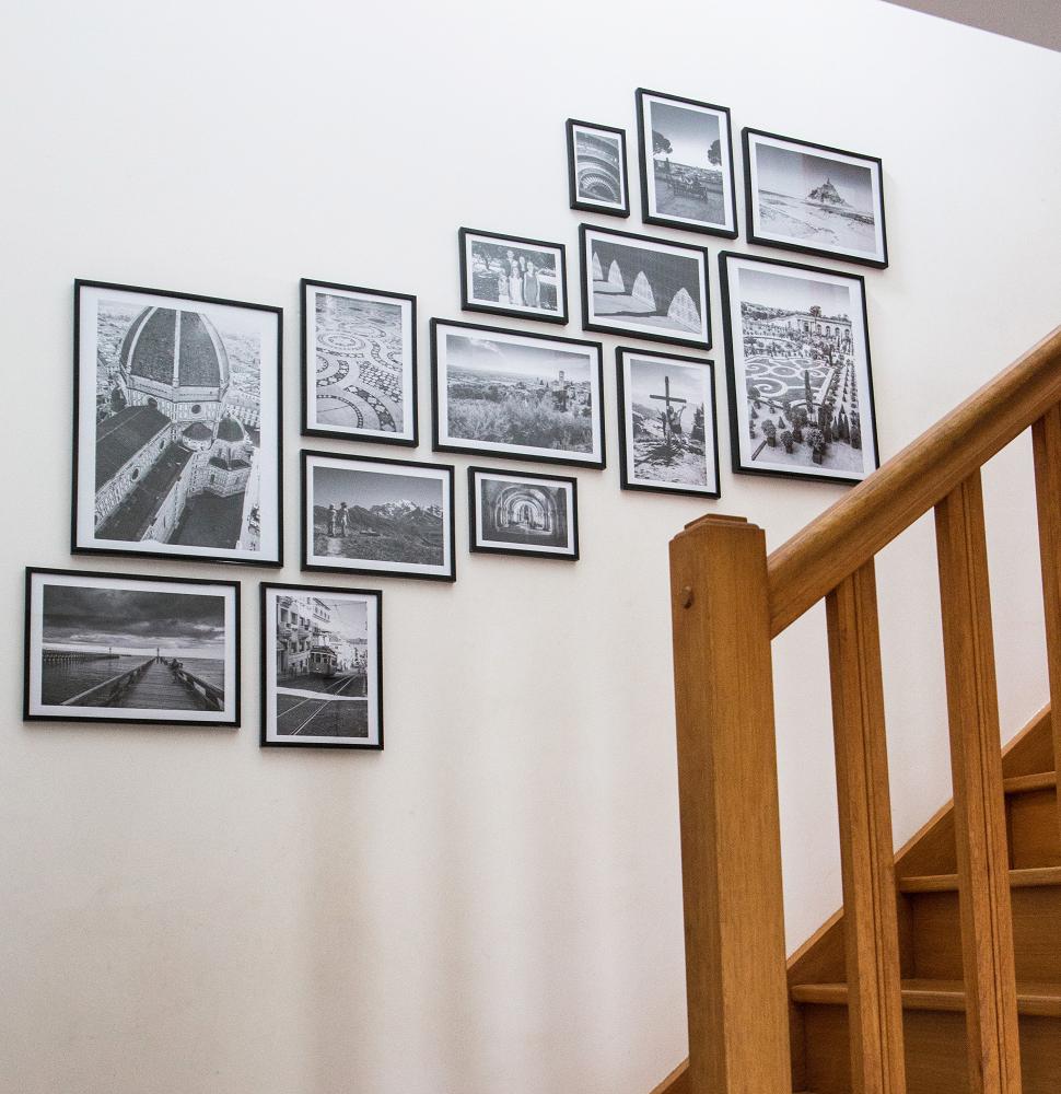 Idées déco couloir ou déco entrée - Exemple client impression de photos encadrées - @myposter / Arnaud Puibaraud