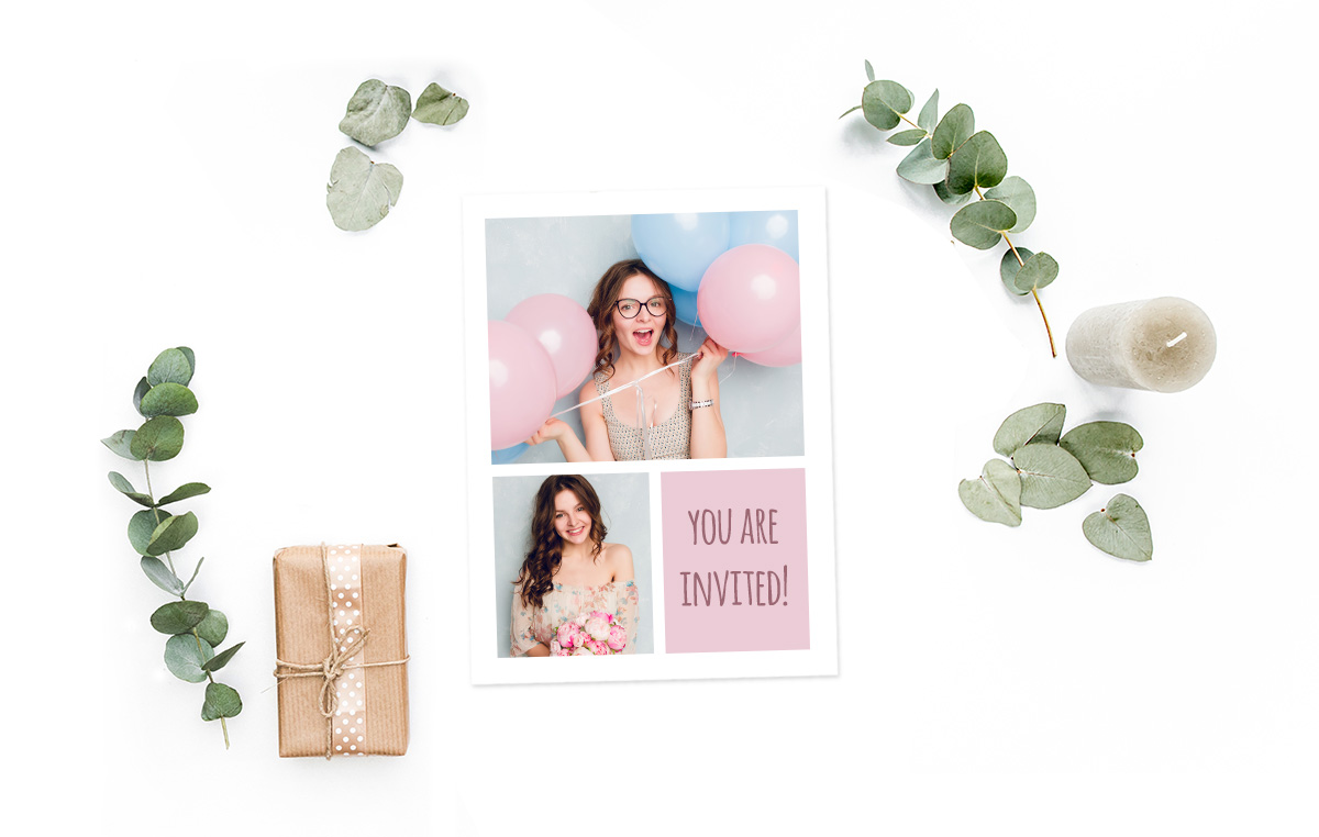 Idée de collage photo pour une carte d'anniversaire ou d'invitation / myposter