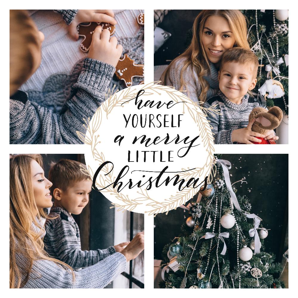 Modèle de collage photo gratuit pour Noël en bleu et doré / myposter