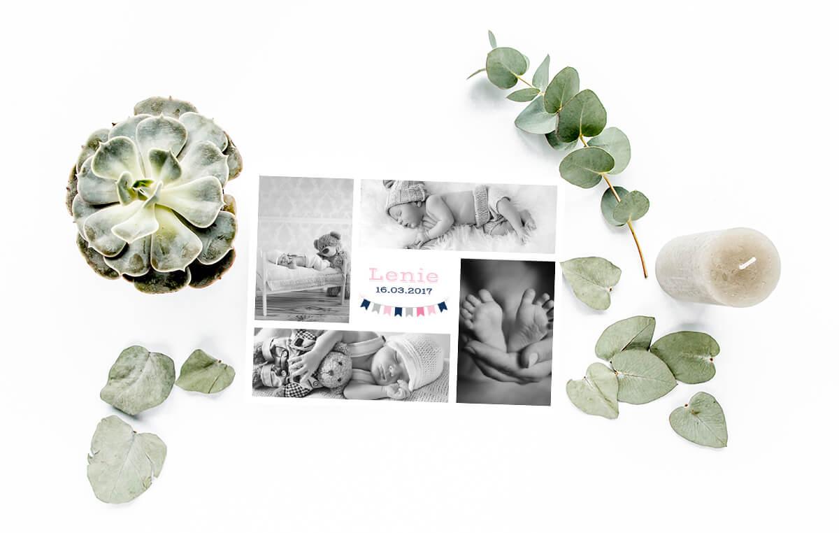 idée de collage photo pour un faire part de naissance / myposter