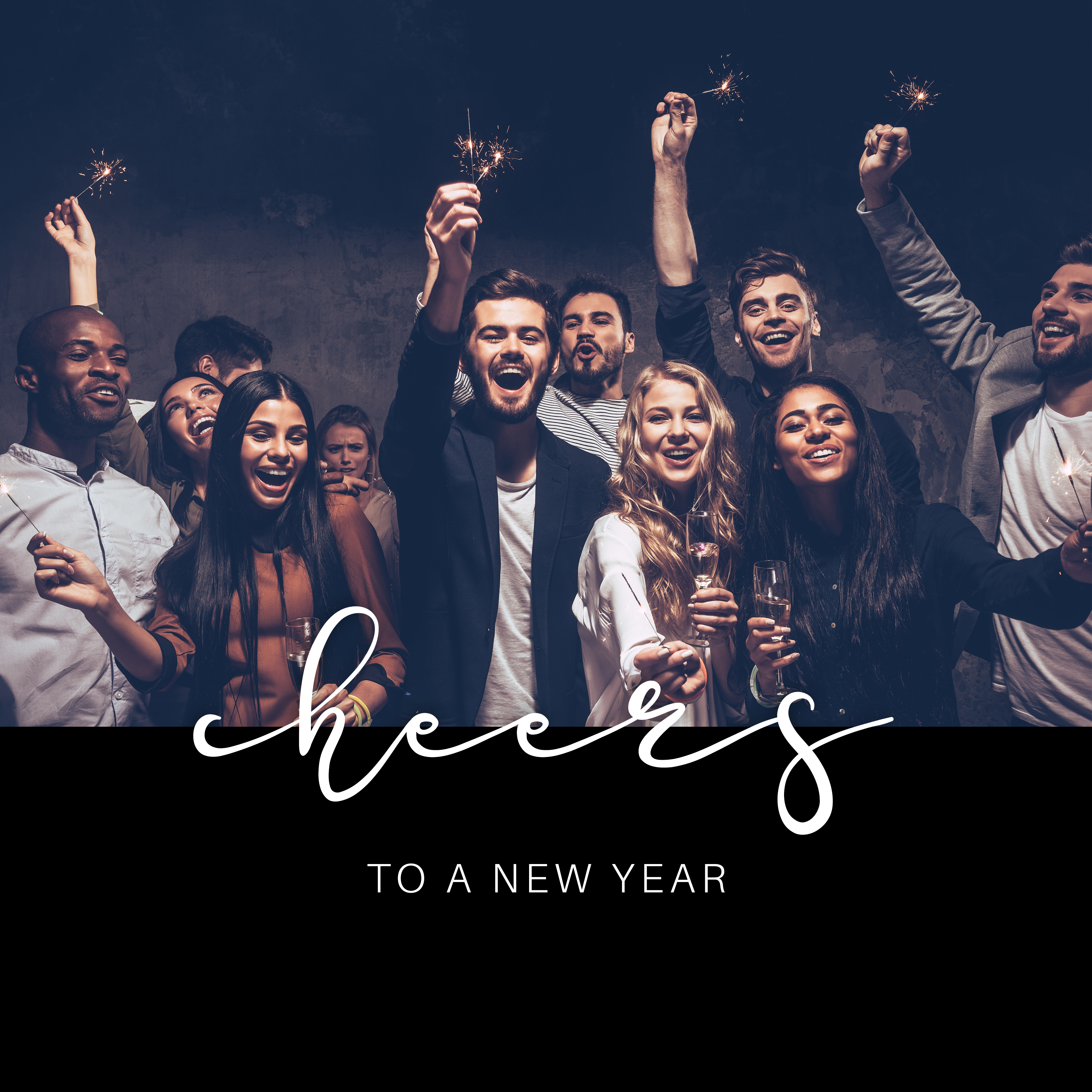 Modèle de carte de vœux nouvel an / myposter