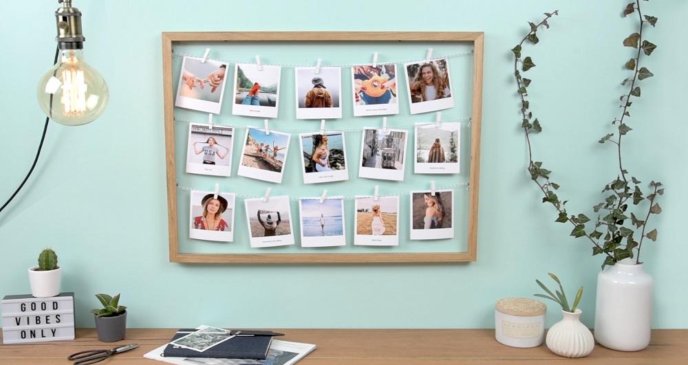 Pêle-mêle photo style Polaroid et une guirlande / myposter