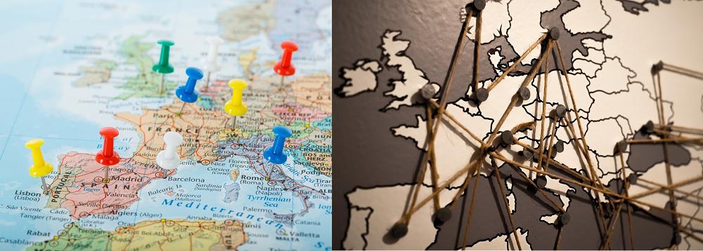 Carte du monde noir et blanc ou en couleur - à épingler avec punaises, drapeaux et à relier