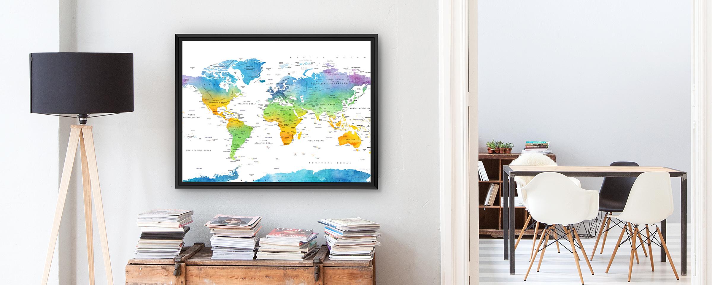 Carte du monde à épingler