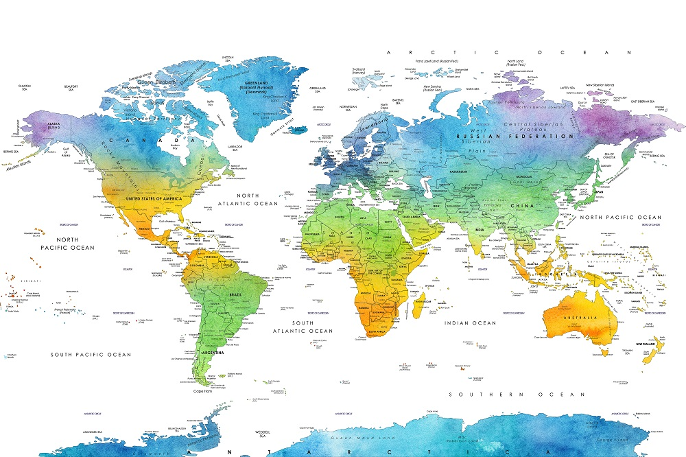 Wereldkaart in kleur met grenzen