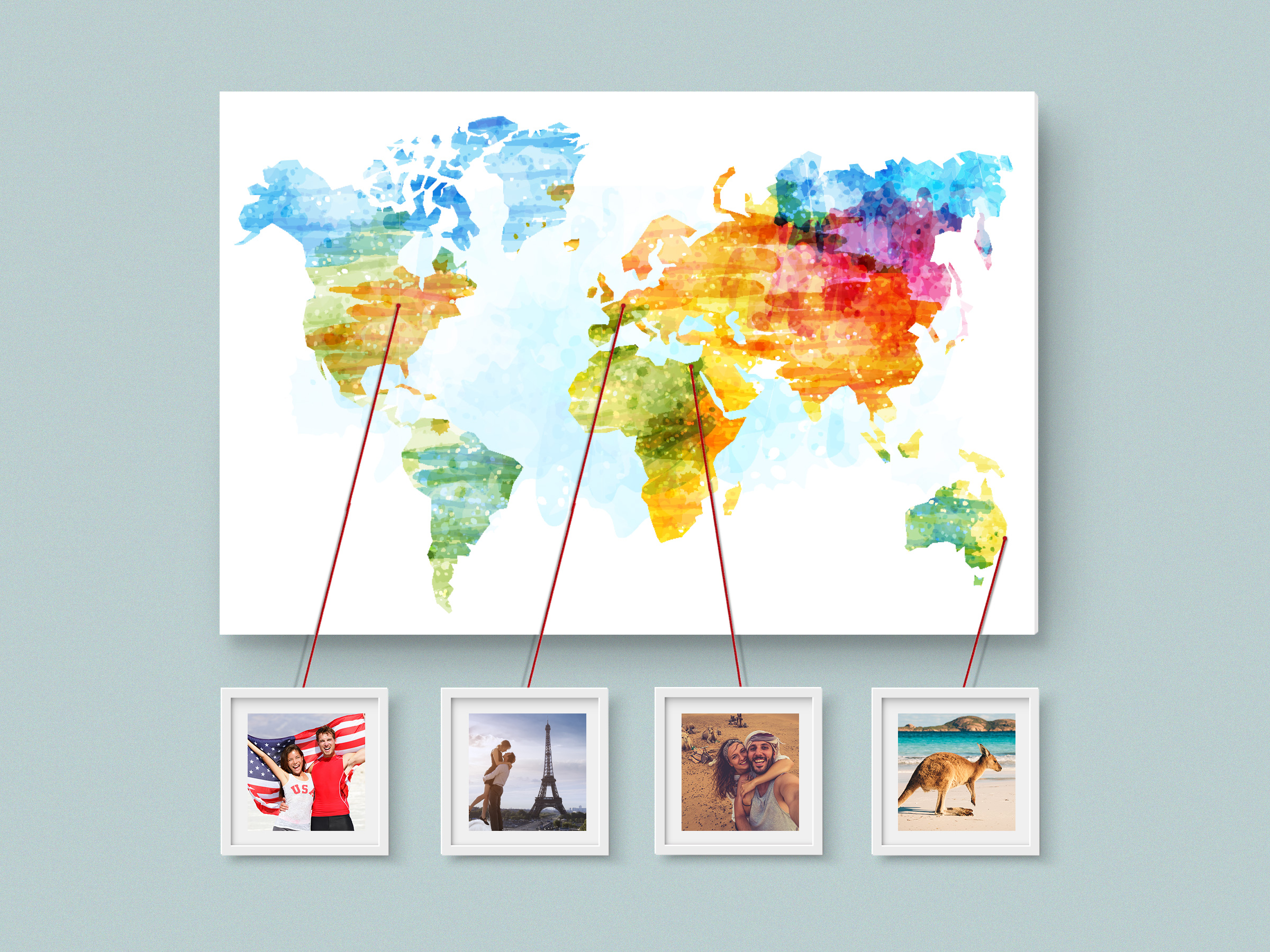 Carte du monde à imprimer sur Forex avec des cadres photos autour / inspiration myposter