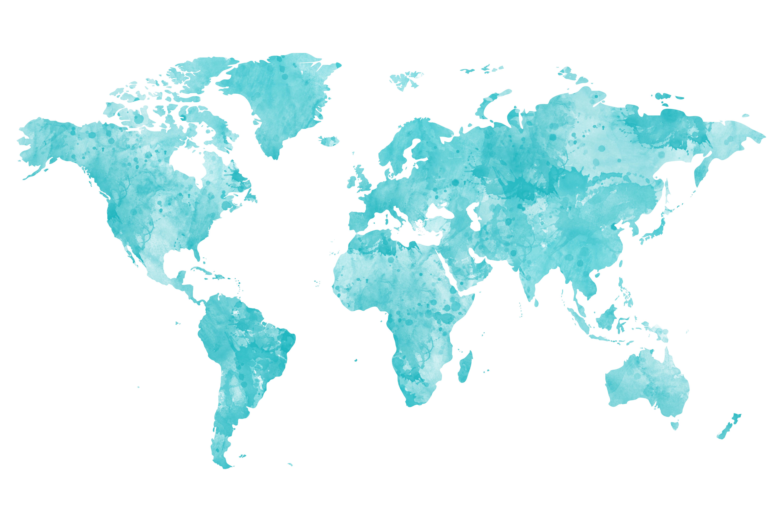 Carte du monde à épingler bleue / myposter