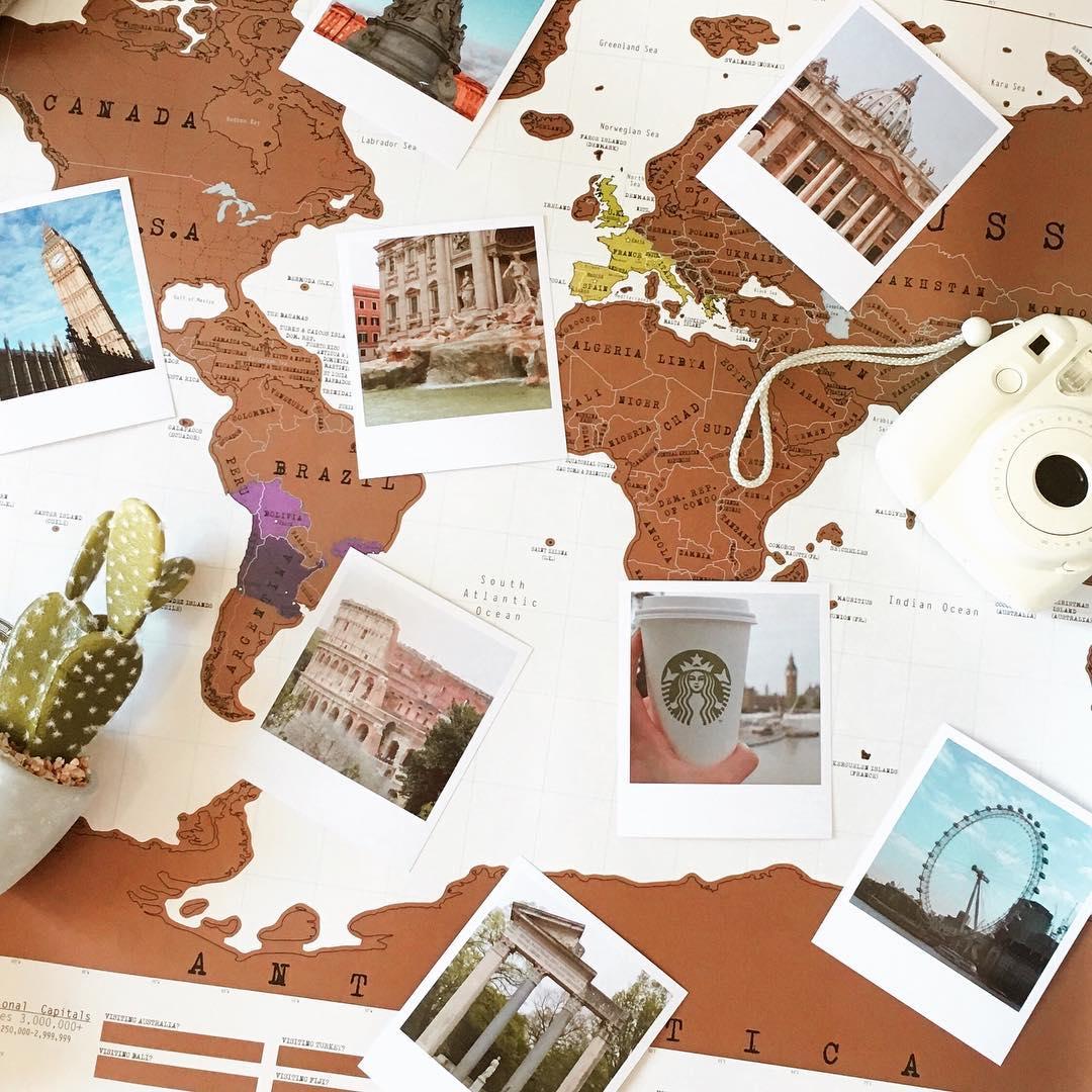 Carte du monde à épingler avec tirages photos @parisiennement.votre / myposter